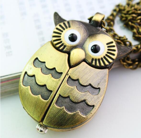 10pc A Bronze Night Owl Necklace Pendant Quartz Steampunk Pocket Watch Chain For Men Women P52