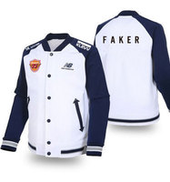 STOCK Game LOL World Champion S5 Team SKT T1 Players Uniform Navy Blue Sleeves Thick