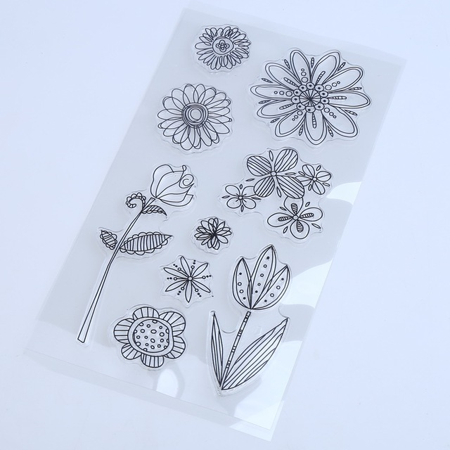 1PCS/LOT Transparent Stamp Flower Style For DIY Scrapbooking