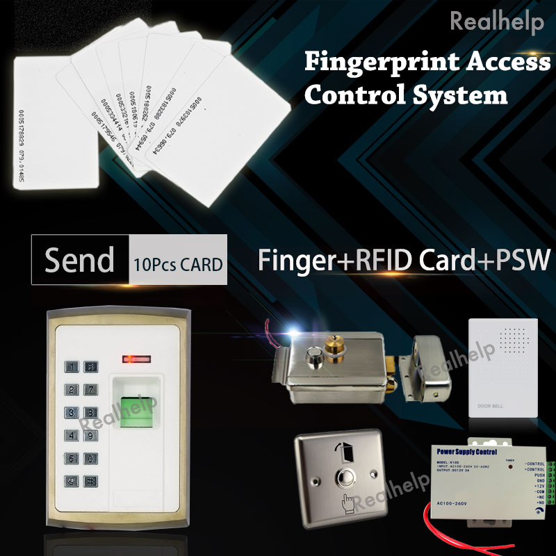 Bio Entry Metal Casing Fingerprint Door Access System Keyboard Single Door Electrical Lock for Gate Power Supply Unit