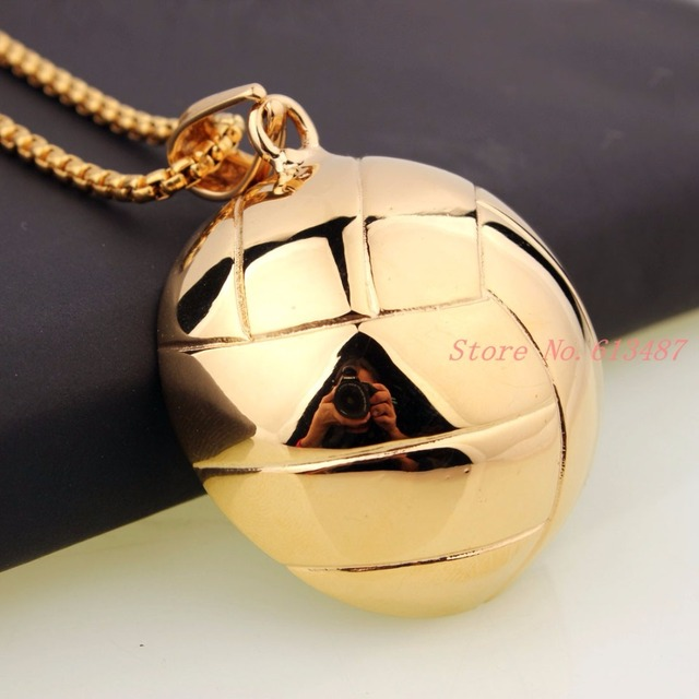 Wholesale Gold Plated Volleyball Girls Volleyball player Charms Stainless Steel Pendant Necklace Initial Necklace