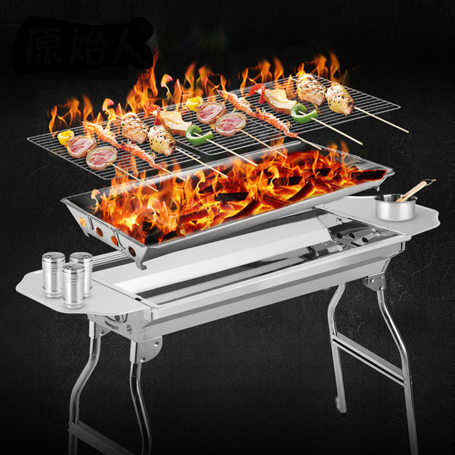 BBQ Folding stainless steel household barbecue grill outdoor 5 person above charcoal barbecue stove barbecue tool