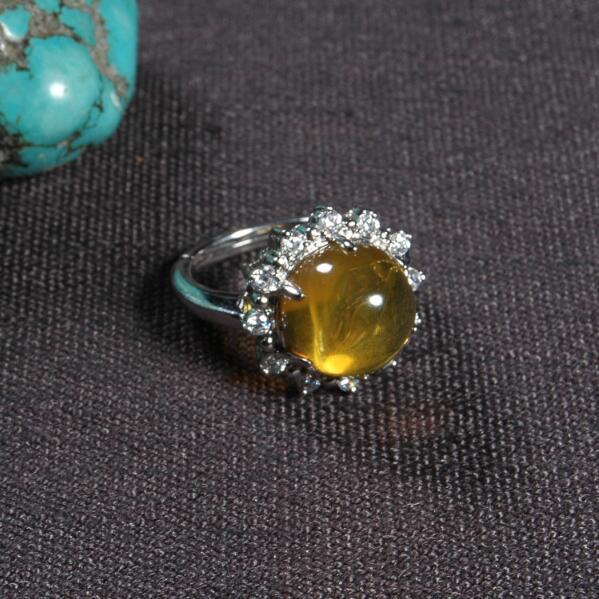Resizable Handmade Nepalese 925 Silver Ring Tibetan 925 Sterling Silver Ring Silver Yellow Bohemia Ring