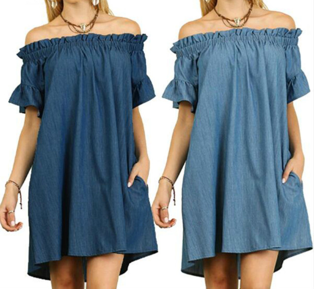 Plus Size Summer Dress Denim Women With Bare Shoulders Short Sleeve Pockets Loose Casual T