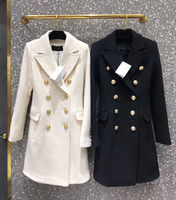 Brand New Cashmere WOOL LONG TRENCH COAT DOUBLE BREASTED GOLD EMBOSSED BUTTONS UP Flap pockets Woman Coats Black White 2018FW