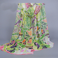 Moda 2017 Nuevo Llega la Primavera Verano Verano Pañuelo de Gasa Para Las Mujeres del Diseño Geométrico Impreso Bufandas