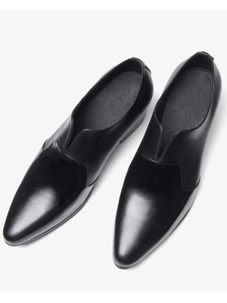 Hot Mens Slip On High Heel Shoes 5 CM Thick Hell Height IncreasingPointed Toe Oxfords Man Trendy Wedding Shoes