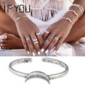 2016 European Vintage Open Cuff  Bangle Armlet Indian Antique Silver Color Boho Bohemian Punk Moon Bangles for Women