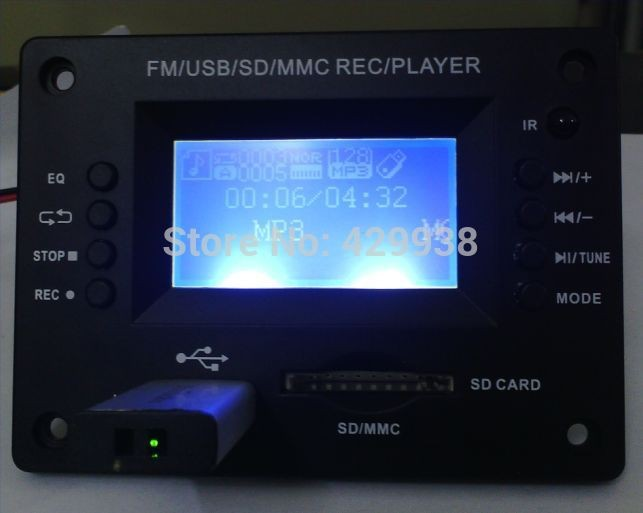 Mp3  Display Decoder Board  5v With Bluetooth USB / MMC REC / PLAYER  FM Radio You Can Insert U Disk SD Card