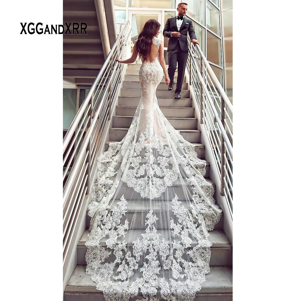 Image 5 - Luxury Lace Mermaid Wedding Dress 2019 Sweetheart Cap Sleeves Backless White Dress Cathedral Train Gelinlik Vestido De Noiva-in Wedding Dresses from Weddings & Events
