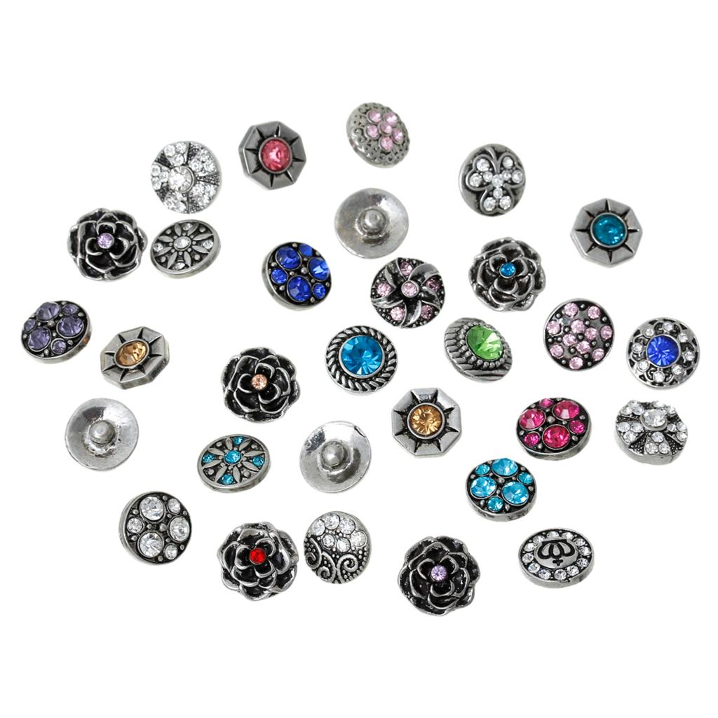 Fashion Snap Buttons Fit Fashion Bracelets Round At Random Pattern Rhinestone 12mm( 4/8) Dia,Knob:4.8mm,1PCs image