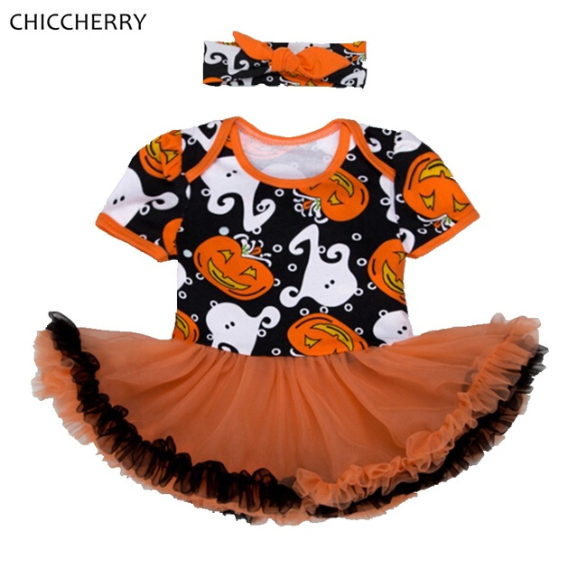Ghosts Pumpkin Baby Halloween Costume Lace Tutu Infant Dress Headband Vestido Infantil Robe Bebe Fille Girls Halloween Outfits