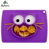 Qshare ベビーボウルプレート食器子供食品容器プレイスマット食器幼児摂食カップ子シリコーン子供フィードプレート
