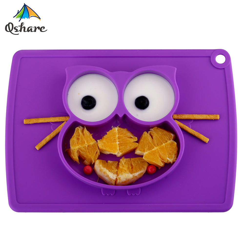 Qshare Baby Bowls Plate Tableware Children Food Container Placemat Dishes Infant Feeding Cup Child Silicone Kids Feed Plate