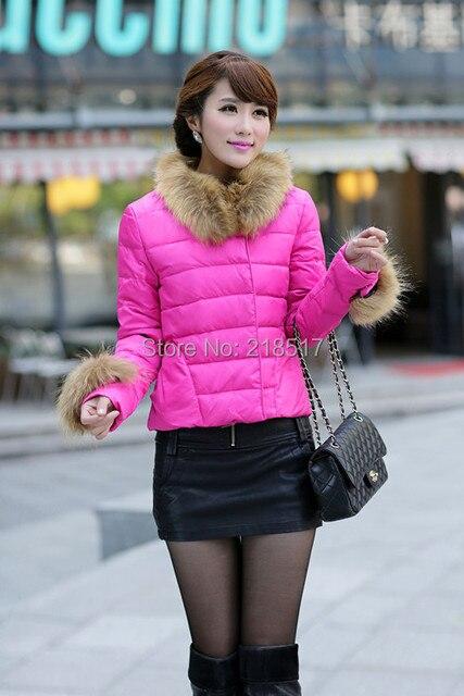 Бесплатная доставка наивысшего качества Подпушка пальто Missfofo тонкий сладкий большой меховой воротник короткая верхняя одежда дизайн леди меха лисы пуховая куртка