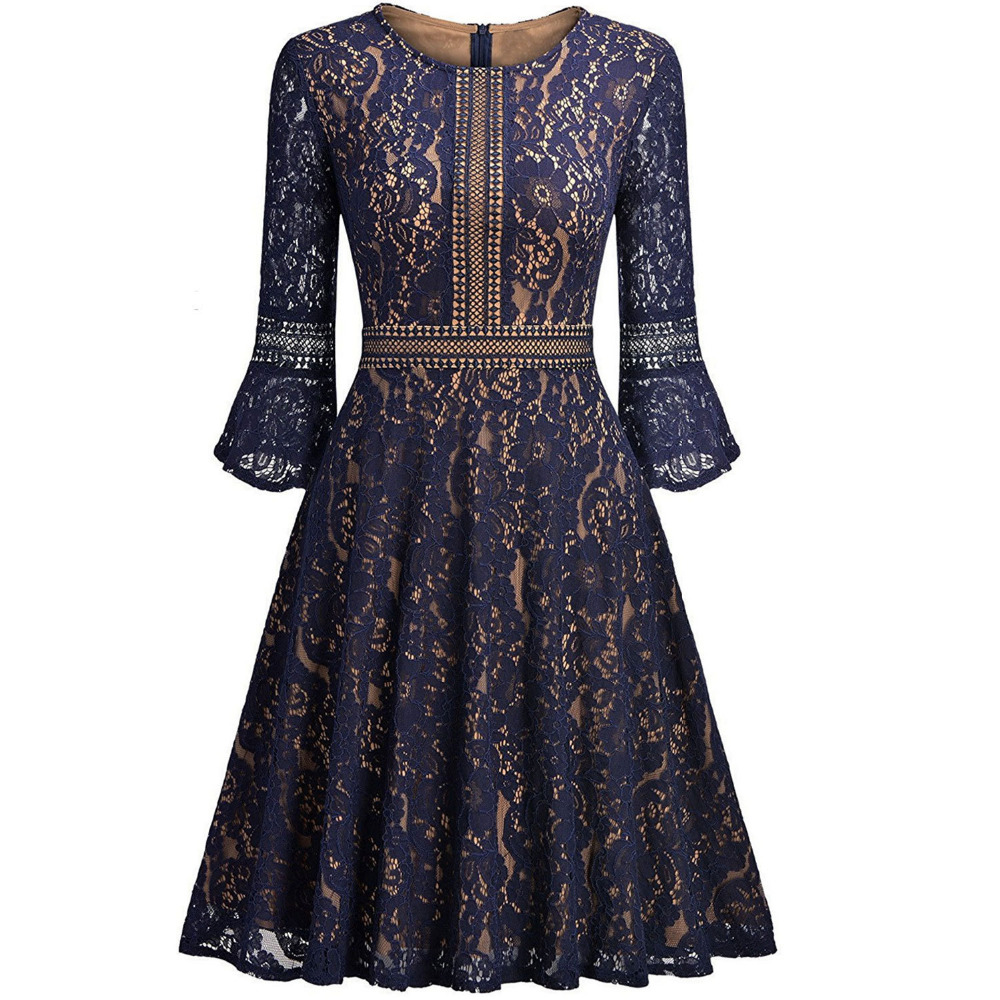 Spring Autumn Lace Dress 3/4 Sleeve O Neck Vestidos de Renda A Line Knee Length Casual Dress Party Cocktail 2018 Vestidos Mujer