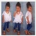 2015 новое поступление девочек комплект одежды кружевное платье пиджак + жилет + джинсы 3 шт./компл. костюм мода детская одежда слинг бесплатная доставка