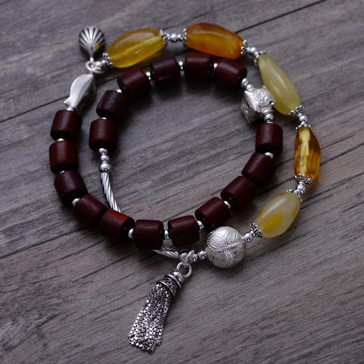 925 Sterling Silver Vintage Lobular Red Sandalwood & Nature Yellow Beeswax Bracelet Women Thai Silver Gift Jewelry CH058578 fashion 925 sterling silver vintage nature beeswax