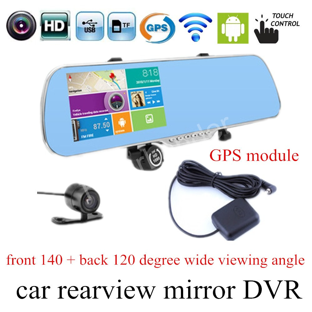 best selling 5 inch Car DVR GPS for Android Rearview mirror Navigation Mirror Monitor 1080P Dual Lens Camera touch screen image