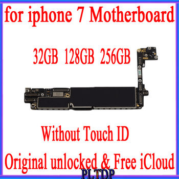 Factory Unlock Original Motherboard For iPhone 7 4.7inch No Touch ID Mainboard IOS Installed Logic Board 32GB/128GB/256GB