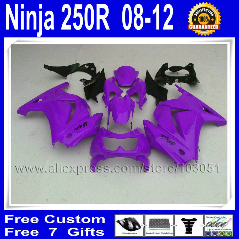Custom moto fairing sets for Kawasaki ninja 250R 2008 2012 2013 ZX 250R EX250 EX250R 08 09 12 13 body repair fairings kit