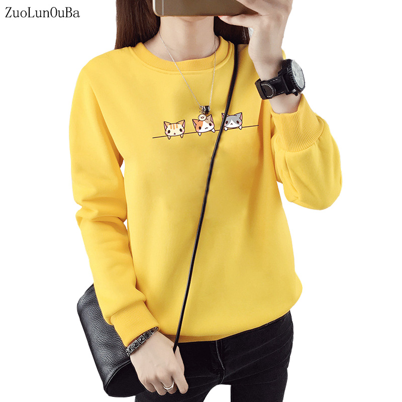 Autumn Winter Clothes Office Lady Fleece Cartoon Loose Pullovers Long Sleeve Simple Cat Print Harajuku Women Hoody Sweatshirt