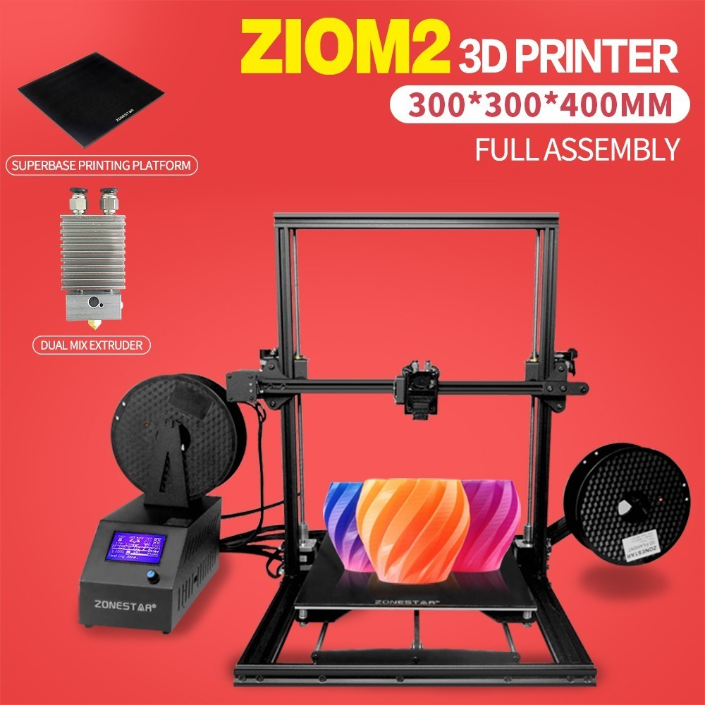 ZONESTAR Newest Large Size Optional Single Dual Extruder Auto Mixing Super base Open Source Fully Assembled Color 3d Printer zonestar newest full metal aluminum frame big size 300mm x 300mm auto level laser engraving run out decect 3d printer diy kit