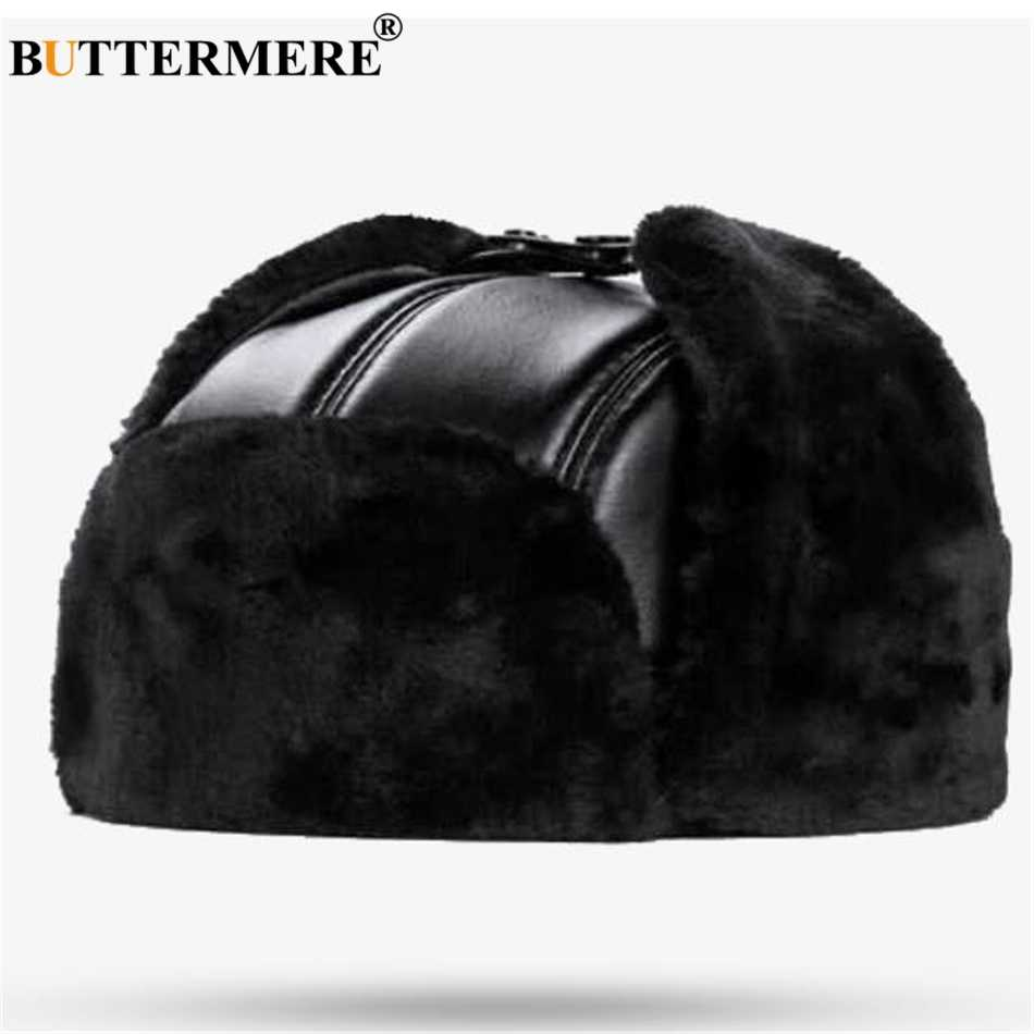 0171170d14e36 BUTTERMERE Sheepskin Russian Hat Ushanka Leather Bomber Hat BLack Thick  Outdoor Mens Winter Hats Ear Flaps
