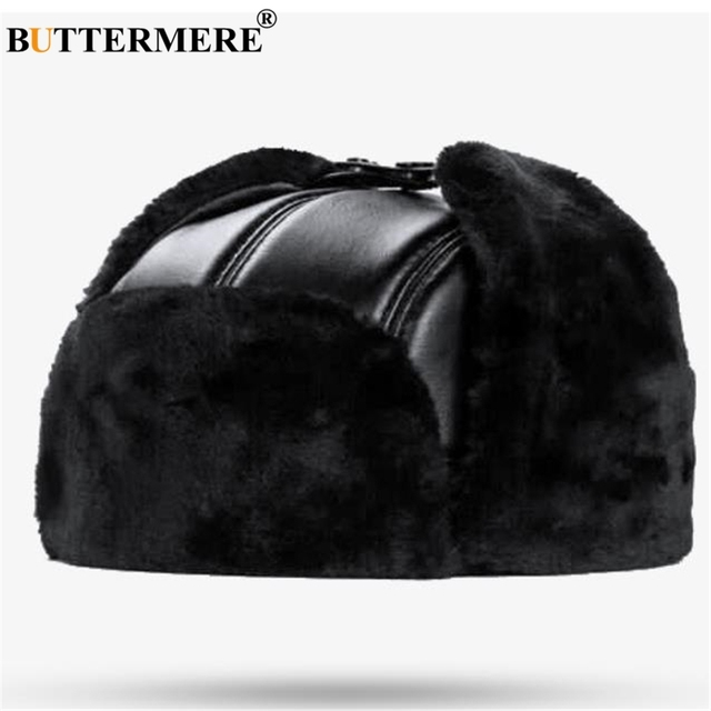 0af2ef272 US $27.65 38% OFF|BUTTERMERE Sheepskin Russian Hat Ushanka Leather Bomber  Hat BLack Thick Outdoor Mens Winter Hats Ear Flaps Male 2019 Accessories-in  ...