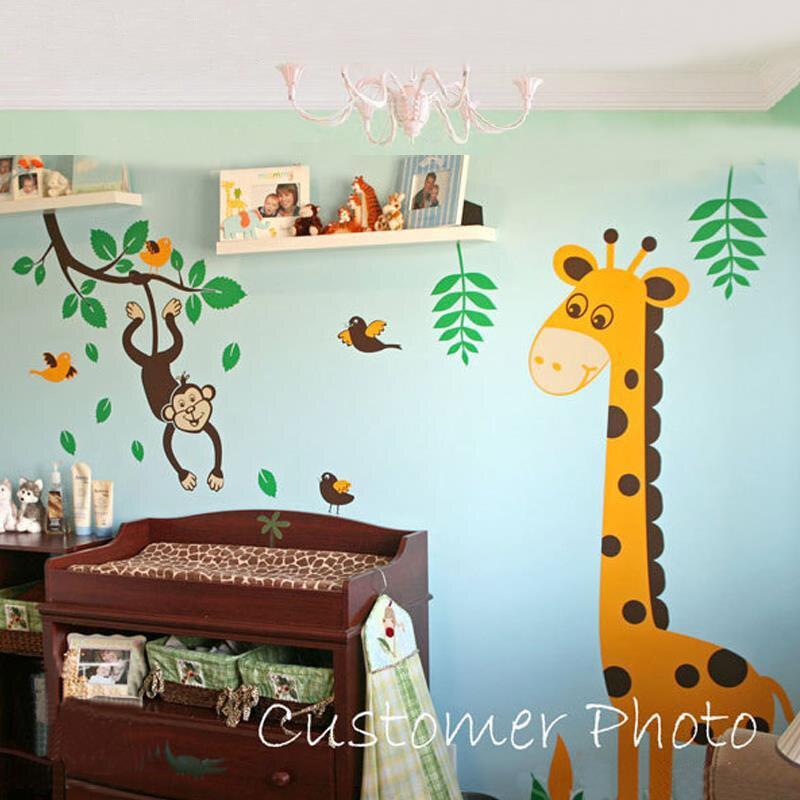 Monkey Swinging Tree Branch Giraffe Birds Nursery Wall Decals - Wall decals animals