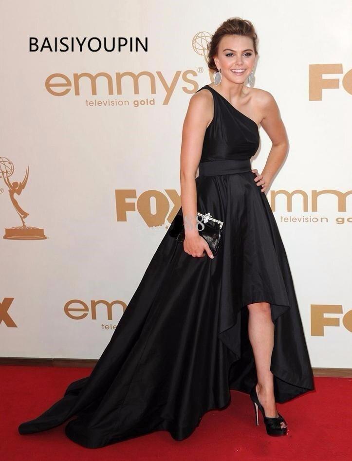 2019 Celebrity Runway Cheap   Prom     Dresses   Long Elegant Evening Formal   Dress   party   dresses   One Shoulder A-line Black