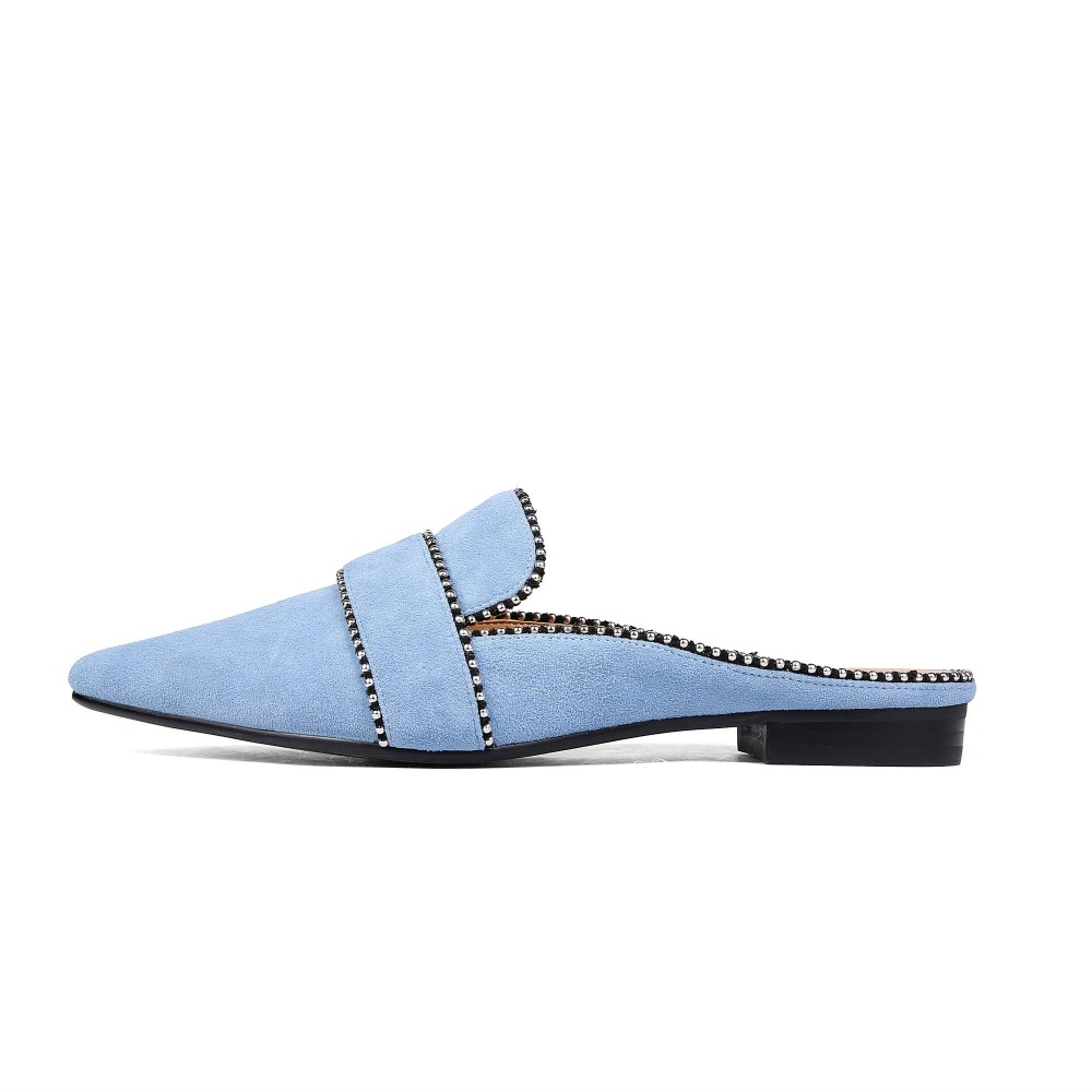 Lenkisen sheep suede simple slip on outside slippers novelty style mules special lace work decoration women casual shoes L26