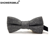SHOWERSMILE British Style Wool Bow Tie For Men Striped Bowtie Herringbone Gray Male Female Vintage Neck Cravate Adults Gift