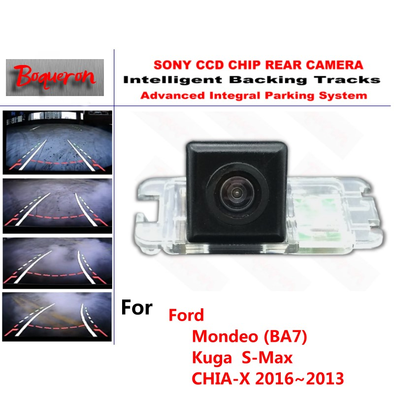 For Ford Mondeo (BA7) Kuga S-Max CHIA-X 06~13 CCD Car Backup Parking Camera Intelligent Tracks Dynamic Guidance Rear View Camera ipas dynamic guidance line intelligent directive parking track lines ccd rear view camera for volvo avis avs326cpr 106