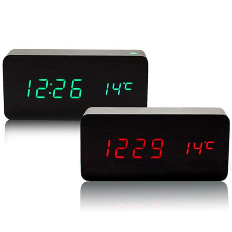 Akustische Kontrolle Kalender Alarm Thermometer Holz Schlafzimmer Uhr  Led Anzeige Digitale Tischuhren Mit Sekunden XyzTime 6035 Clock