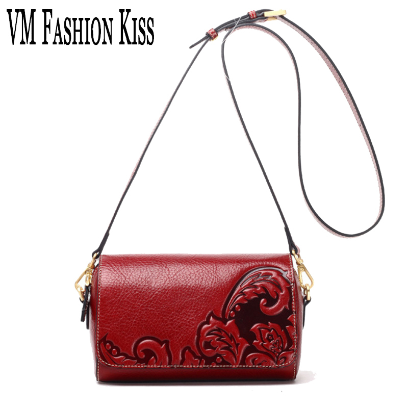 VM FASHION KISS Women Luxury Genuine Leather Pillow Shoulders Bag National Embossing Small Messenger Bag  Casual Bags For Girls vm fashion kiss genuine leather serpentine chain small messenger bags for women high quality mini shoulder bags falp bag lady