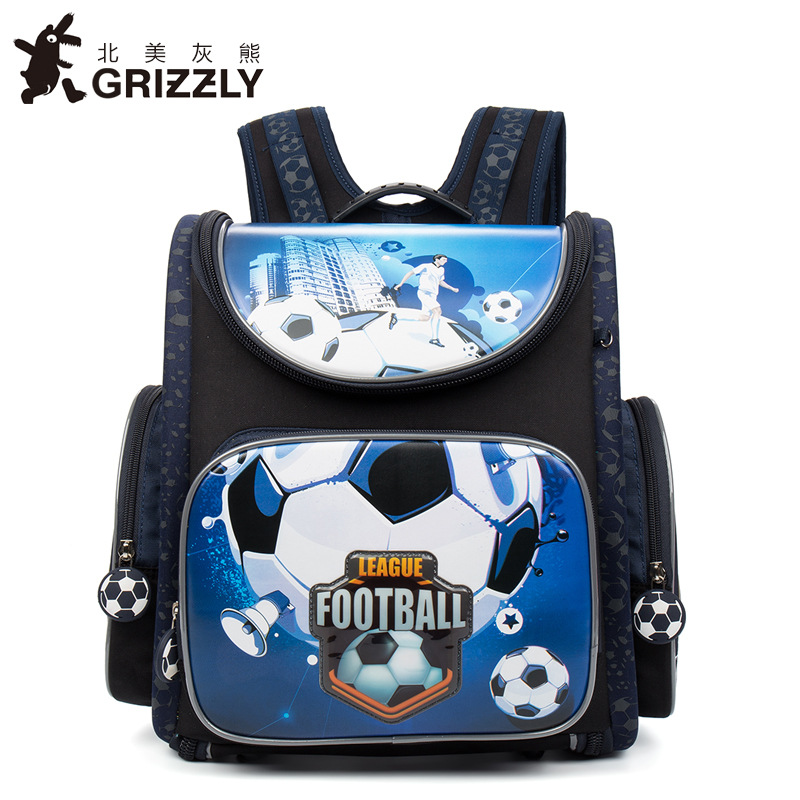 GRIZZLY Children School Backpack for Boys Bag Waterproof Folded Orthopedic Primary Kids Satchel Shoes