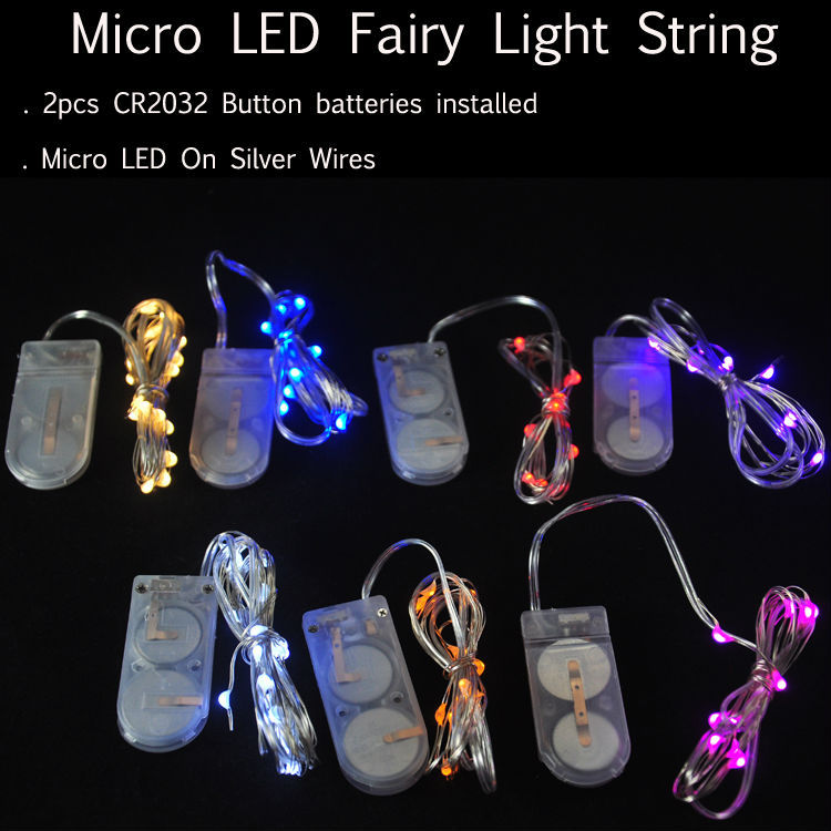 10pcs/lot CR2032 Button Battery 2M 20LED Micro Tiny LED String Lights,Battery  Led Fairy Light For Christmas Party Wedding Decor
