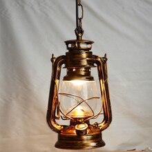 Vintage retro bronce linterna lámpara colgante de techo led luces loft E27 220 V para Luces de la Cocina Sala de Estar/comedor/salón/bar/cafe