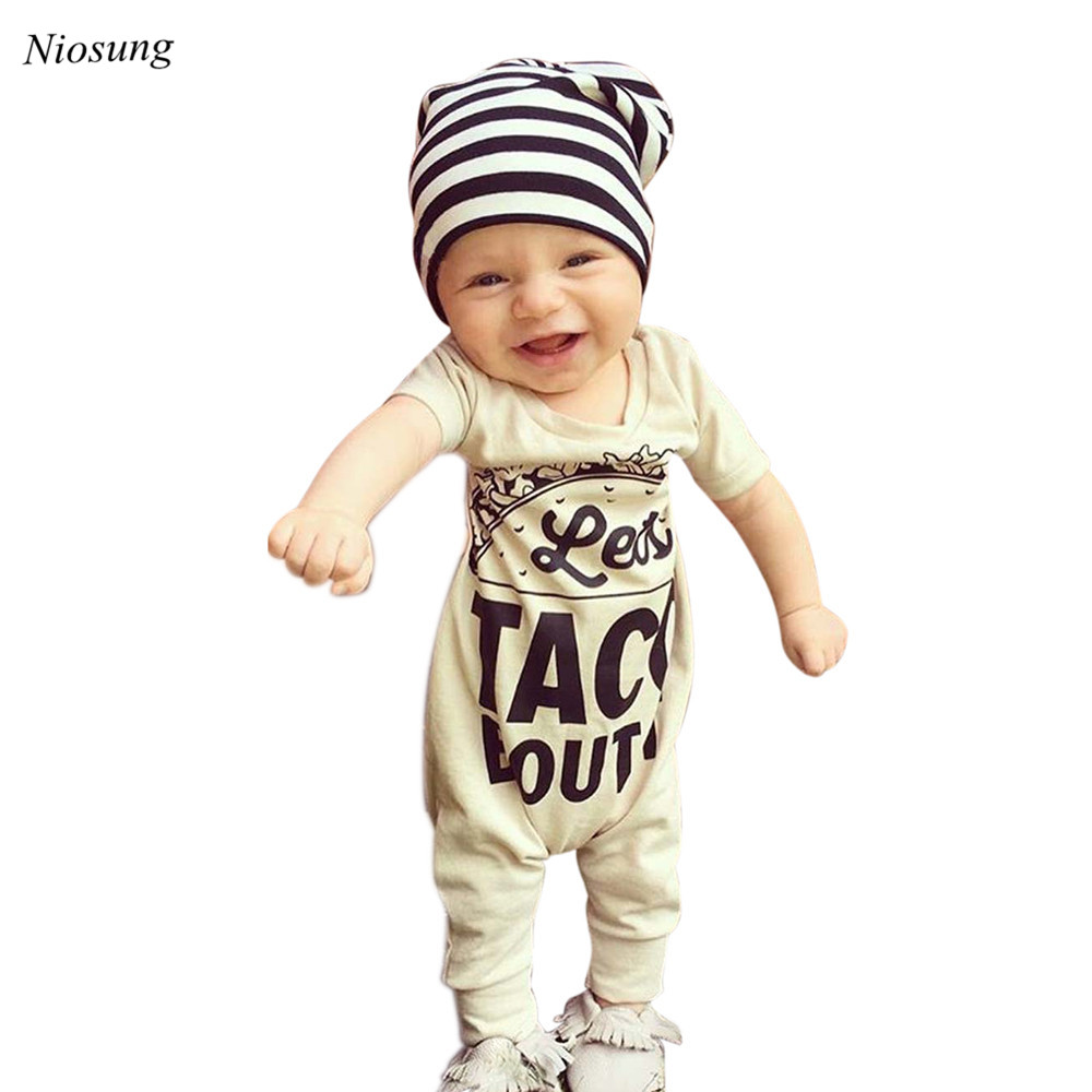 New Arrival Newborn Infant Baby Boys Girls Short Sleeve Letter Print Romper Jumpsuit Clothes wholesale