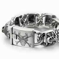 LINSION Huge Heavy 316L Stainless Steel Deep Laser Engraved Pirate Skull Mens Boys Biker Rock Punk