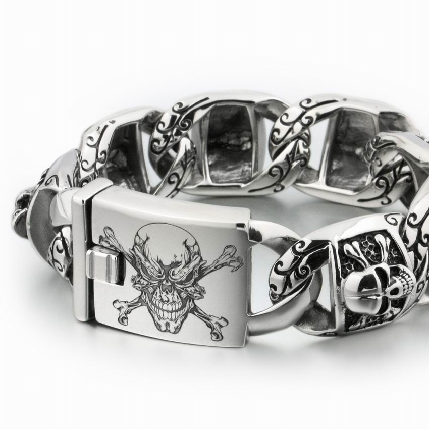 LINSION Huge Heavy 316L Stainless Steel Deep Laser Engraved Pirate Skull Mens Boys Biker Rock Punk Bracelet 5T102