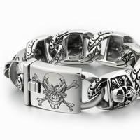 LINSION Lớn Nặng 316L Thép Không Gỉ Sâu Laser Khắc Pirate Skull Mens Trai Biker Rock Punk Bracelet 5T102