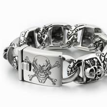 LINSION énorme lourd acier inoxydable 316L gravé au Laser profond crâne de Pirate hommes garçons Biker Rock Punk Bracelet 5T102