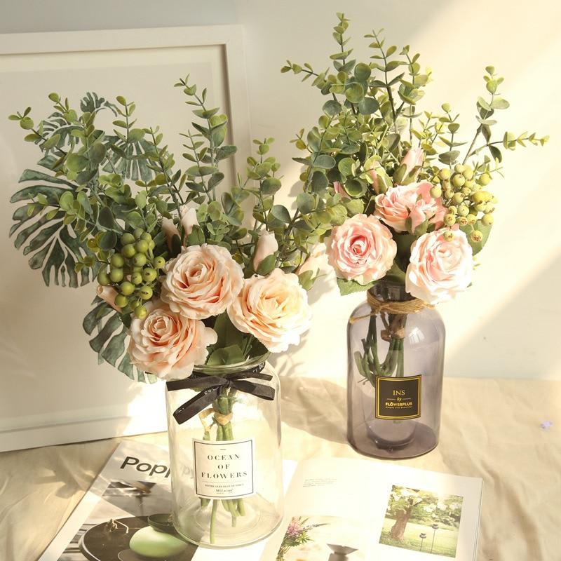 YO CHO Bride Wedding Bouquet Bridesmaid Rose Eucalyptus Leaves Bouquets Artificial Silk Flowers Wedding Table Center Accessories