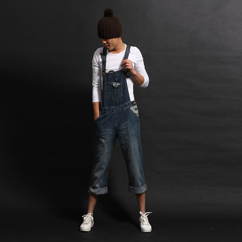 New Korean Style Men`s Plus Size Denim Overalls Ankle Length Vintage Washed Pockets 8XL Jeans Jumpsuit For Men Big and Tall denim overalls male suspenders front pockets men s ripped jeans casual hole blue bib jeans boyfriend jeans jumpsuit or04