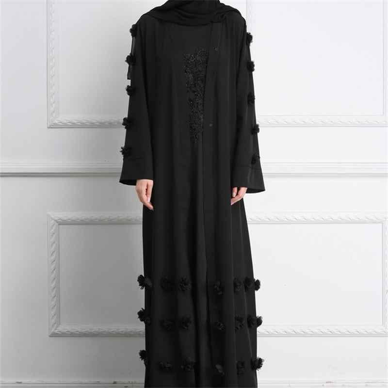 2019 Абаи черным Аппликации Открыть спереди Макси кимоно Ислам ic платье мусульманская одежда серый с длинным рукавом Абаи халат Ислам Катар ОАЭ D608