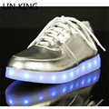 LIN KING Geniune Leather LED Light Women Casual Shoes Fashion Lace Up USB Charging Low Top Sport Shoes Dance Shoes Big Size