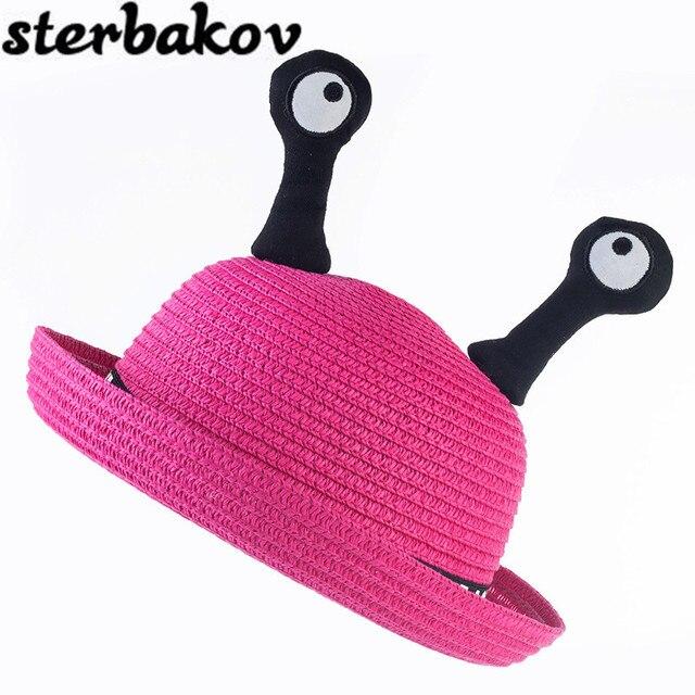 Дети вс hat детские монстр глаз шляпа соломенная шляпа солнца летом стиль пляж милые глаза 7 цветов cap