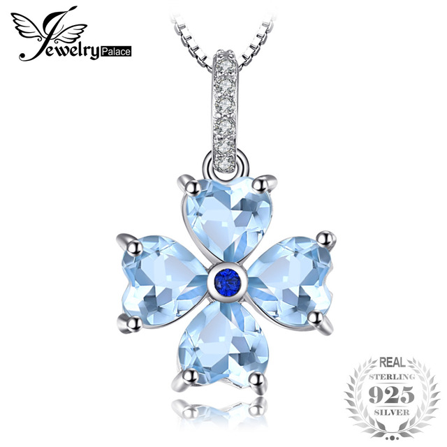 JewelryPalace Cushion Cut 0.8ct Natural Aquamarine Pendant Necklace 925 Sterling Silver 18 Inches 2A63WF4
